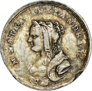 Medal miniaturowy autorstwa C. Baerendt'a z 1818 roku wybity z okazji pobyty matki cesarza Aleksandra I w Królestwie Polskim, RR.