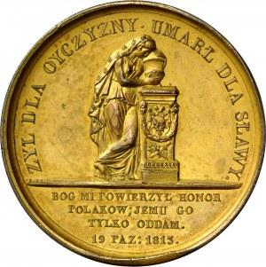 Medal autorstwa Franciszka Caunois wybity na pamiątkę śmierci księcia Józefa Poniatowskiego w 1813 roku.