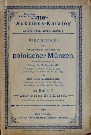 Weyl, Katalog aukcyjny zbioru polskich monet, Berlin 1891.