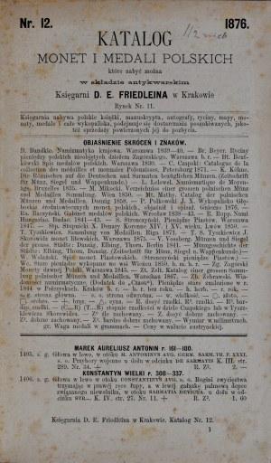 Katalog monet i medali polskich składu antykwarskiego księgarni Friedleina, Kraków 1876.