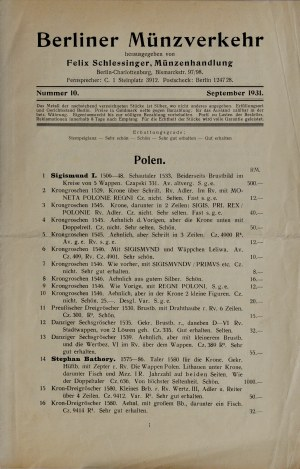 Oferta sprzedaży monet polskich Felixa Schlessingera, Berlin 1931.