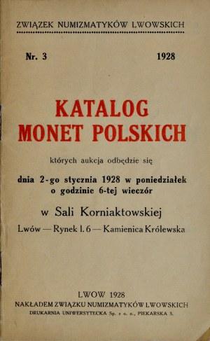 Katalog aukcyjny Związku Numizmatyków Lwowskich, monety polskie, Lwów 1928.