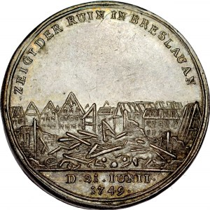 Medal wybity na pamiątkę wybuchu prochowni we Wrocławiu 1749 r.