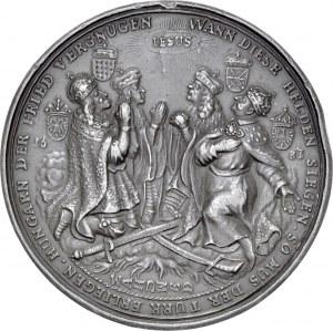 Medal z 1683 r autorstwa Hansa Jacoba Worlaba wybity dla upamiętnienia ligi antytureckiej i oswobodzenia Wiednia.
