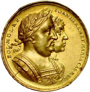 Jan III Sobieski 1674-1696, Medal autorstwa J. Hoehna, wybity w 1677 roku z okazji odwiedzin miasta przez parę królewska, RR.