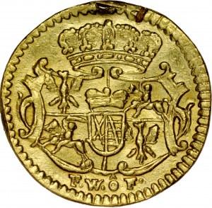 August III 1733-1763, ¼ dukata 1736, halerz w złocie.