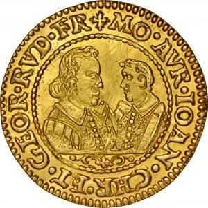 Śląsk, Księstwo Legnicko-Brzesko-Wołowskie, Jan Chrystian i Jerzy Rudolf 1603-1621, Dukat 1607, Złoty Stok.