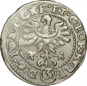 Śląsk, Księstwo Legnicko-Brzesko-Wołowskie, Jan Chrystian i Jerzy Rudolf 1603-1621, 3 krajcary 1611, Złoty Stok.