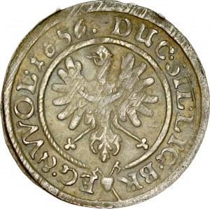 Śląsk, Księstwo Legnicko-Brzesko-Wołowskie, Jerzy III Brzeski, Ludwik IV i Chrystian Wołowsko-Oławski 1639-1663, 3 krajcary 1656, Brzeg.