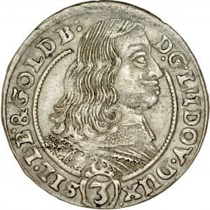 Śląsk, Księstwo Legnicko-Brzesko-Wołowskie, Ludwik 1653-1663, 3 krajcary 1659, Brzeg.