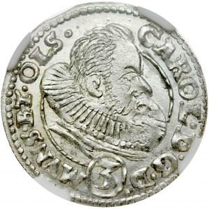 Śląsk, Księstwo Ziębicko-Oleśnickie, Karol II 1587-1617, 3 krajcary 1612, Oleśnica.