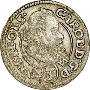 Śląsk, Księstwo Ziębicko-Oleśnickie, Karol II 1587-1617, 3 krajcary 1614, Oleśnica.