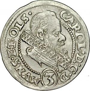 Śląsk, Księstwo Ziębicko-Oleśnickie, Karol II 1587-1617, 3 krajcary 1615, Oleśnica.