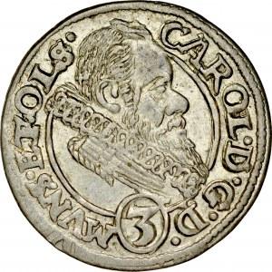 Śląsk, Księstwo Ziębicko-Oleśnickie, Karol II 1587-1617, 3 krajcary 1616, Oleśnica.