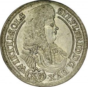 Śląsk, Księstwo Wirtembersko-Oleśnickie, Sylwiusz Fryderyk 1668-1697, XV krajcarów 1675, Oleśnica.