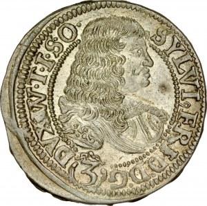 Śląsk, Księstwo Wirtembersko-Oleśnickie, Sylwiusz Fryderyk 1668-1697, 3 krajcary 1674, Oleśnica.