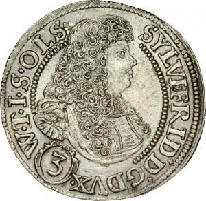 Śląsk, Księstwo Wirtembersko-Oleśnickie, Sylwiusz Fryderyk 1668-1697, 3 krajcary 1675, Oleśnica.