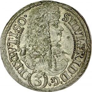 Śląsk, Księstwo Wirtembersko-Oleśnickie, Sylwiusz Fryderyk 1668-1697, 3 krajcary 1676, Oleśnica.