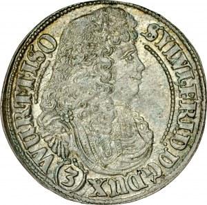 Śląsk, Księstwo Wirtembersko-Oleśnickie, Sylwiusz Fryderyk 1668-1697, 3 krajcary 1678, Oleśnica.