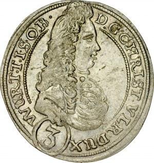 Śląsk, Księstwo Wirtembersko-Oleśnickie, Chrystian Ulryk 1668-1704, 3 krajcary 1696, Oleśnica.