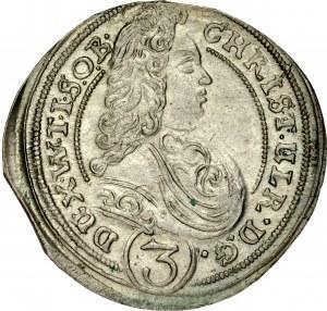 Śląsk, Księstwo Wirtembersko-Oleśnickie, Chrystian Ulryk 1668-1704, 3 krajcary 1701, Oleśnica.