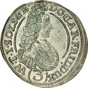 Śląsk, Księstwo Wirtembersko-Oleśnickie, Karol Fryderyk 1704-1744, 3 krajcary 1708, Oleśnica.