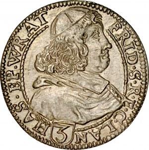 Śląsk, Księstwo Nyskie Biskupów Wrocławskich, Fryderyk Heski 1671-1682, 3 krajcary 1680, Nysa.