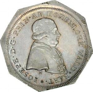 Śląsk, Księstwo Nyskie Biskupów Wrocławskich, Filip Gothard von Schaffgotsch 1747-1795, Półtalar 1796, Nysa, odbitka dla kolekcjonerów na oktogonalnym krążku.