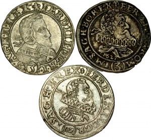 Śląsk, Ferdynand II 1620-1637, 3 krajcary 1624, 1627, 1638, różne mennice śląskie.