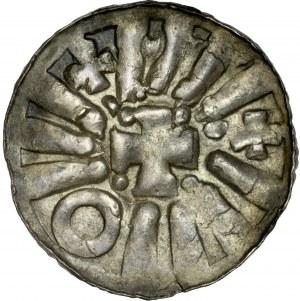 Denar krzyżowy XI w., Av.: Krzyż grecki, Rv.: Kapliczka.