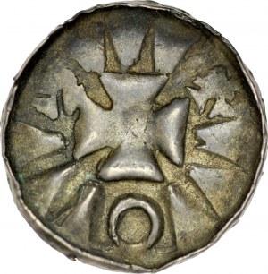 Denar krzyżowy XI w., Av.: Krzyż grecki, jednostronny.