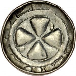Denar krzyżowy XI w., Av.: Krzyż kawalerski, między ramionami jedna kreska, Rv.: Krzyż prosty.