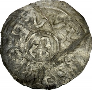 Bolesław Chrobry 992-1025, Denar 995-1004 r., Wielkopolska, Av.: Wewnątrz obwódki litery CVV (zniekształcone DVX), wokoło wstecznie RCLLELRVVS (zniekształcone BOLESLAVS); Rv.: Wewnątrz obwódki krzyż prosty z rozszerzonymi ramionami, w kątach kliny, w