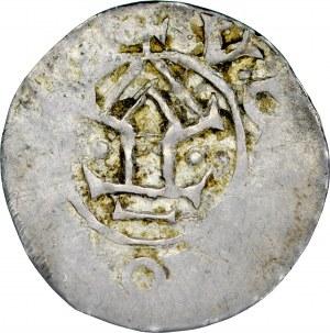 Miecław 1037-1047, Denar, Mazowsze, naśladownictwo denara saskiego Ottona i Adelajdy; Av.: Krzyż z ODOD w kątach, +CIVE+CH; Rv.: Kaplica między dwiema kulkami, wstecznie +[CI]DO[H]SV.