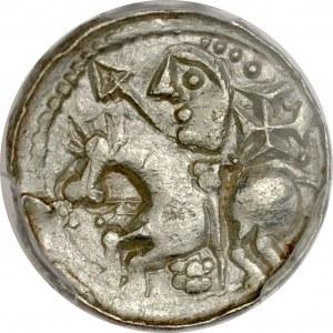 Bolesław Śmiały 1058-1079, Denar, typ książęcy, Av.: Mała głowa i napis otokowy, Rv.: Książe z włócznią na koniu, pod nim kwiatek, za nim krzyż.