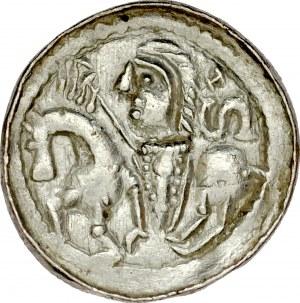 Bolesław Śmiały 1058-1079, Denar, typ książęcy, Av.: Mała głowa i napis otokowy, Rv.: Książe z włócznią i tarczą na koniu, za nim litera S.