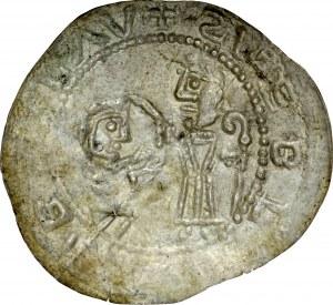 Bolesław III Krzywousty 1107-1138, Brakteat pokutniczy, Av.: Św. Wojciech błogosławi klęczącego księcia, napis otokowy.