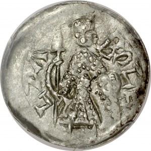 Bolesław III Krzywousty 1107-1138, Denar, Av.: Stojący książę z włócznią i tarczą, napis: BOLE - LZA, Rv.: Budowla z trzema wieżami.