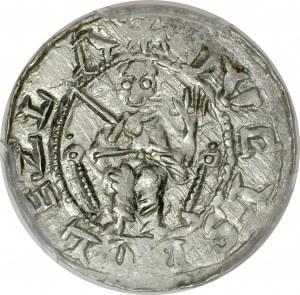 Bolesław III Krzywousty 1107-1138, Denar, Av.: Książę na tronie, napis: DVCIS BOLEZLA, Rv.: Krzyż, napis: DENARIVS.