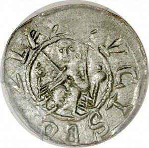 Bolesław III Krzywousty 1107-1138, Denar, Av.: Książę na tronie, napis: DVCIS BOLZLA, Rv.: Krzyż, napis: DENARIVS.