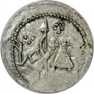 Bolesław III Krzywousty 1107-1138, Denar, Av.: Książę i Św. Wojciech, Rv.: Krzyż, między ramionami krzyżyki, napis.