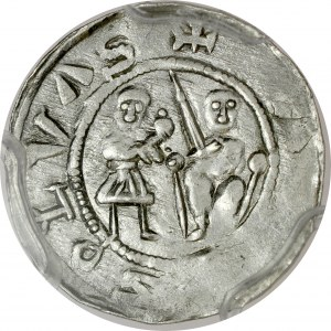 Władysław II Wygnaniec 1138-1146, Denar, Av.: Książę z poddanym, Rv.: Walka z lwem.