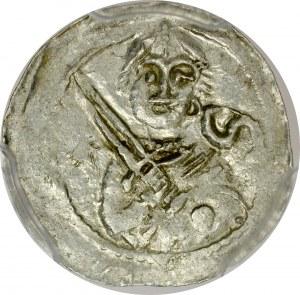 Władysław II Wygnaniec 1138-1146, Denar, Av.: Książę z mieczem, w polu litera S i gwiazdka, Rv.: Biskup z pastorałem i biblią.