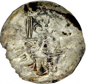 Bolesław IV Kędzierzawy 1146-1173, Denar, Av.: Książę z mieczem, Rv.: Gryf.