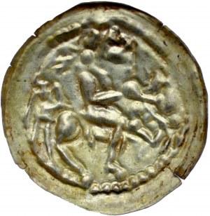 Mieszko III 1138-1202, Brakteat łaciński, Av.: Książę na koniu, RR.
