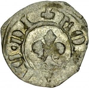 Ludwik Węgierski 1370-1382, Denar, Av.: Lilia, Rv.: Orzeł, RRR.