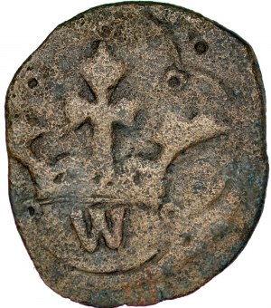 Władysław Opolczyk 1372-1379, Denar ruski, Av.: Litera W w ornamencie, Rv.: Korona pod nią litera W.