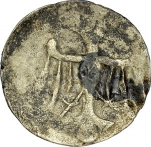 Jadwiga 1384-1386, Denar, Poznań, Av.: Orzeł piastowski, Rv.: Dwa skrzyżowane klucze, RR.