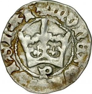 Władysław Jagiełło 1386-1434, Półgrosz, Kraków, Av.: Korona, pod nią litera P, Rv.: Orzeł jagielloński.
