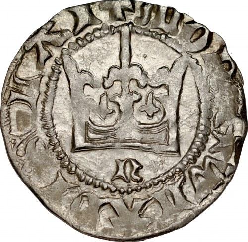 Władysław Jagiełło 1386-1434, Półgrosz, Kraków, Av.: Korona, pod nią litera N, Rv.: Orzeł jagielloński.